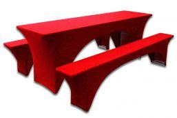 Hoes Rood voor Biertafel en banken 220 x 60