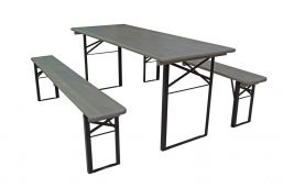 grey wash grijs biertafelset 180x70 met inklapbare bankjes