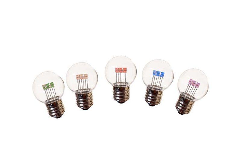 Led Lampen E27.Set Van 5 Kleuren Led Lampen Transparant Helder E27 Fitting 1 Watt