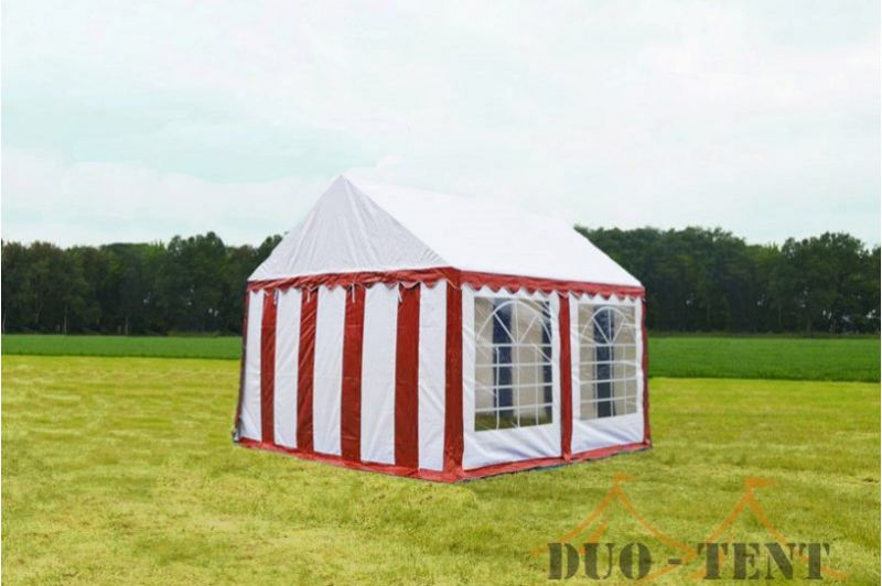 Partytent 3x3 Classic brandvertragend PVC - Rood  / wit