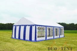 Partytent 5x8 Classic brandvertragend PVC - Blauw / wit