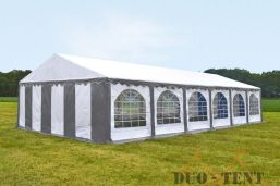 Partytent 5x12 Classic brandvertragend PVC - Grijs / wit