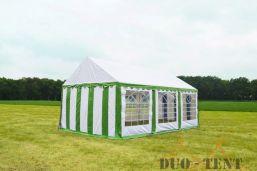 Partytent 6x6 Classic brandvertragend PVC - Groen / wit