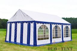 Partytent 4x6 Premium brandvertragend PVC - Blauw / wit