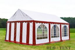 Partytent 4x6 Premium brandvertragend PVC - Rood  / wit