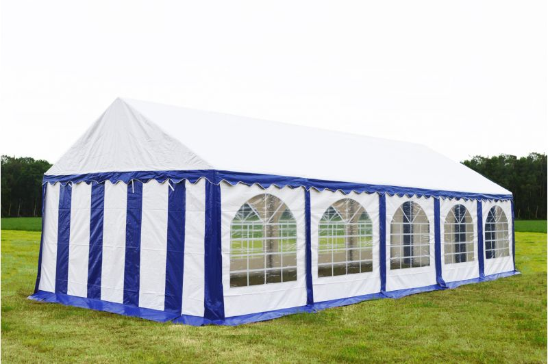 Partytent 4x10 Premium brandvertragend PVC - Blauw / wit