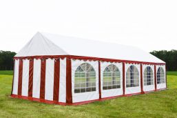 Partytent 4x10 Premium brandvertragend PVC - Rood  /wit