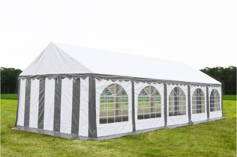 Partytent 4x10 Premium brandvertragend PVC - Grijs / wit