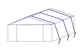 3x Stormbanden set voor tent 3/4 mtr breed - Haringen 50 cm - set Grond/Steen