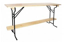 Statafel biertafel 220 x 60 Premium Zwart onderstel