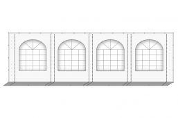 Partytent zijwand PVC met ramen grijs wit | 8 meter | 220cm hoog