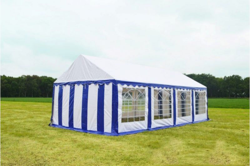 Partytent 4 meter x 8meter Blauw met wit  Classic brandvertragend PVC