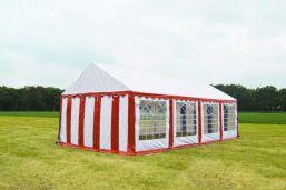 Partytent 4m x 8m Classic brandvertragend PVC - Rood met wit