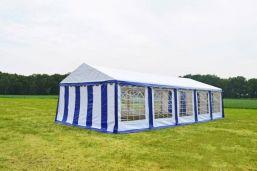 Partytent 4x10 meter Blauw wit Classic PVC Brandvertragend